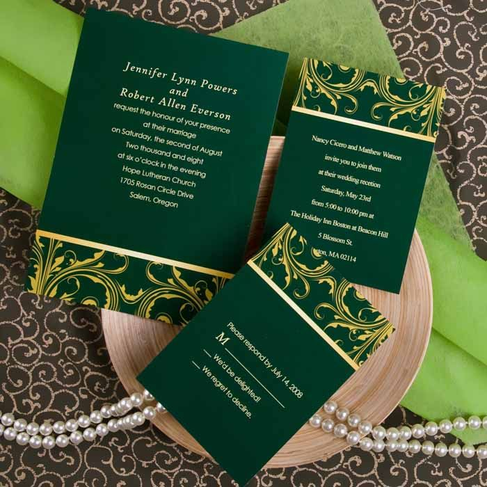green wedding invitations – fleeciness, Wedding invitations
