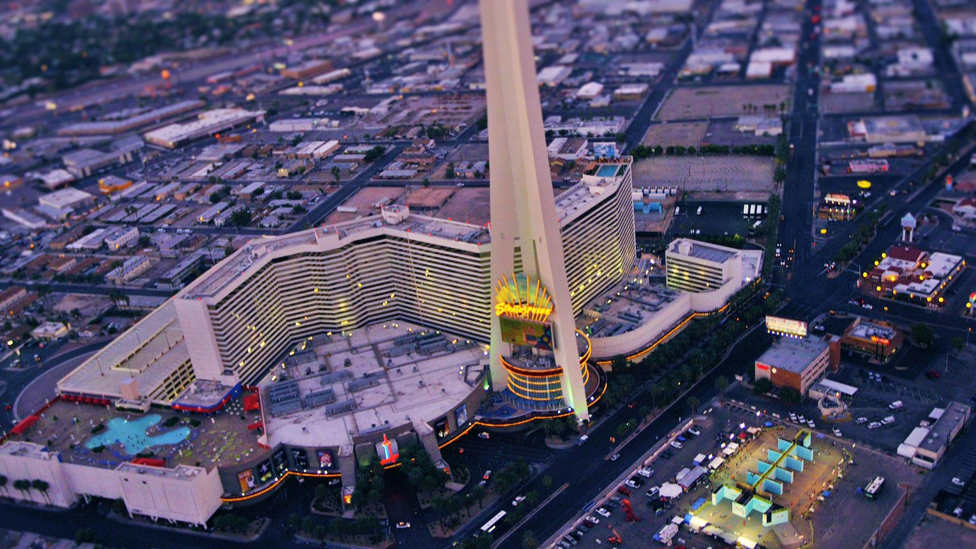Aerial view of the stratosphere tower and portable