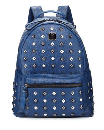 Stark Studded Medium Backpack, Dress Blues by MCM at Neiman Marcus.