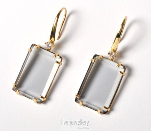 Ref.: BR.113103  Brincos em prata dourada. Com zircónias e quartzo hidrotermal.  Earings in golden silver. With zirconias and hydrothermal quartz stones.