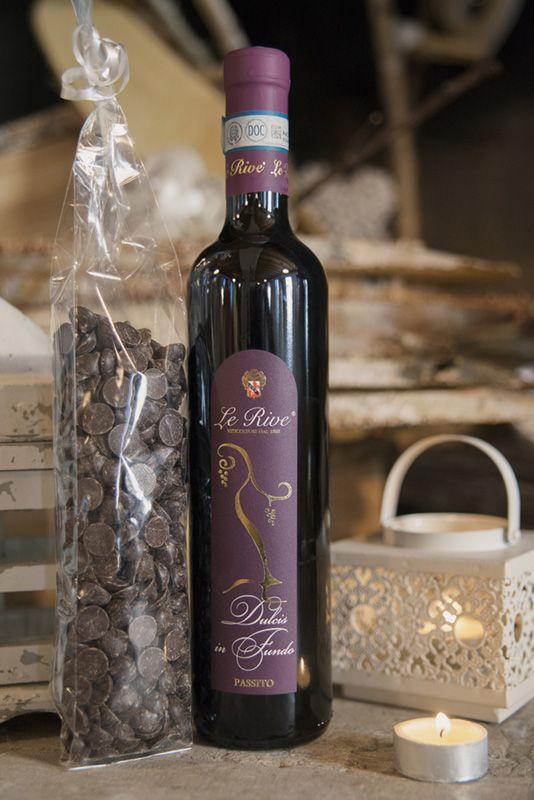 Raboso Passito Dulcis in Fundo e Gocce di cioccolato fondente Le Rive #passito #cioccolato #raboso