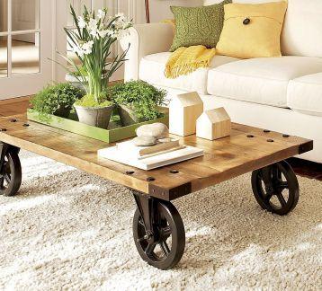 Tekerlekli Orta Sehpa Odywood Rustik Mobilya