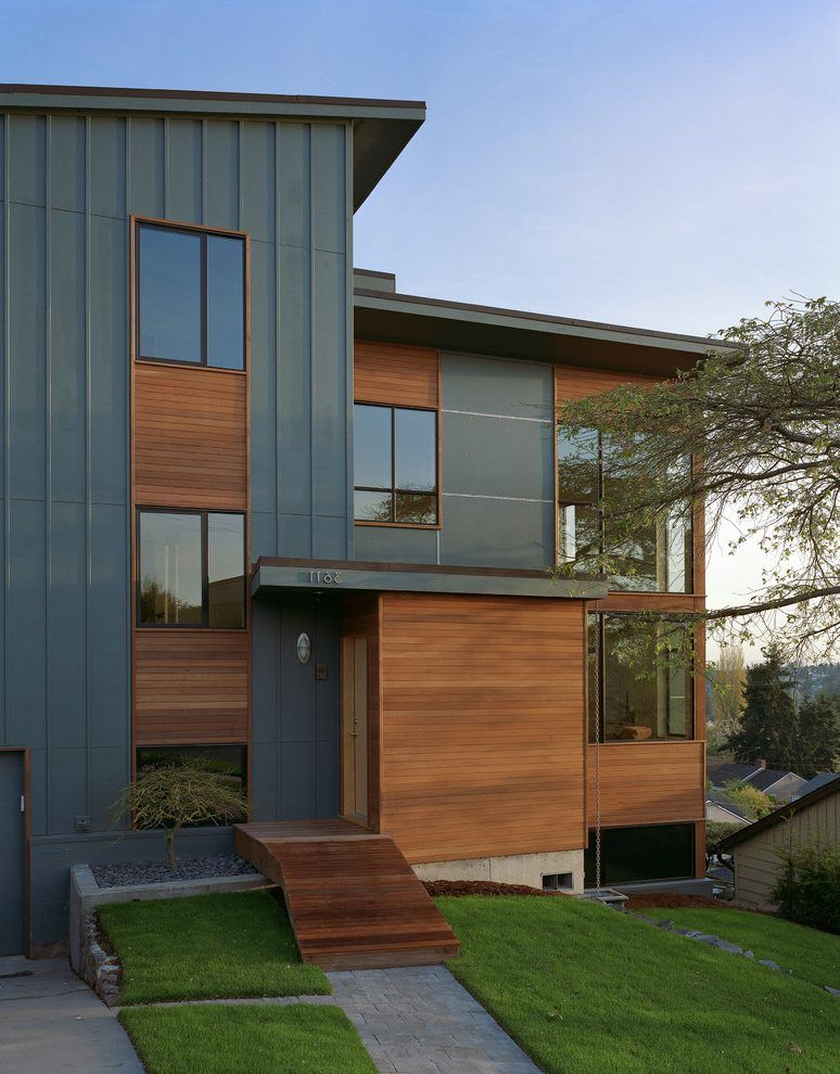 cement finisher exterior contemporary with turf vertical ... on Modern House Siding  id=26209