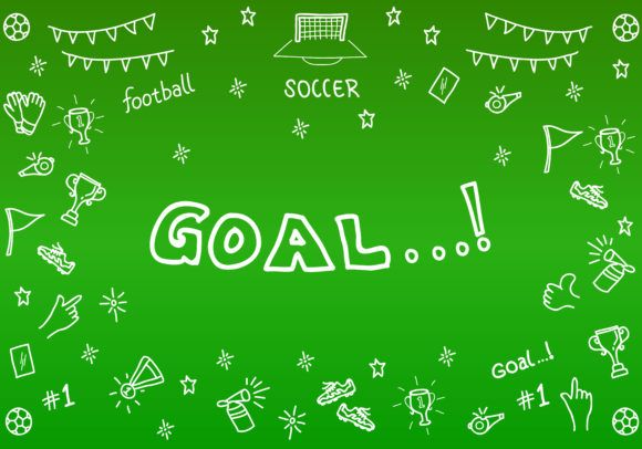 Sport Wallpaper Doodle: Sports Soccer Doodle On A Green Background (Graphic) By