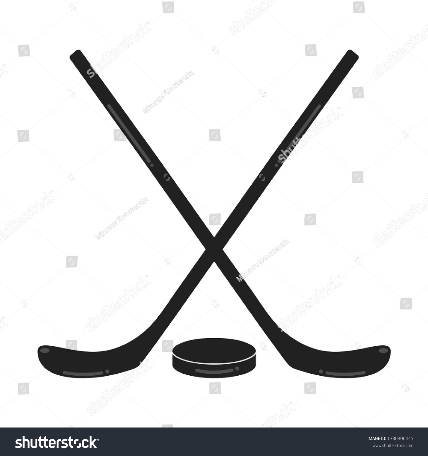 Two Black Hockey Sticks And The Puck Flat Style Design Composition Vector Illustration Icons Signs Isolated On White Bac Hockey Stick Composition Design Hockey