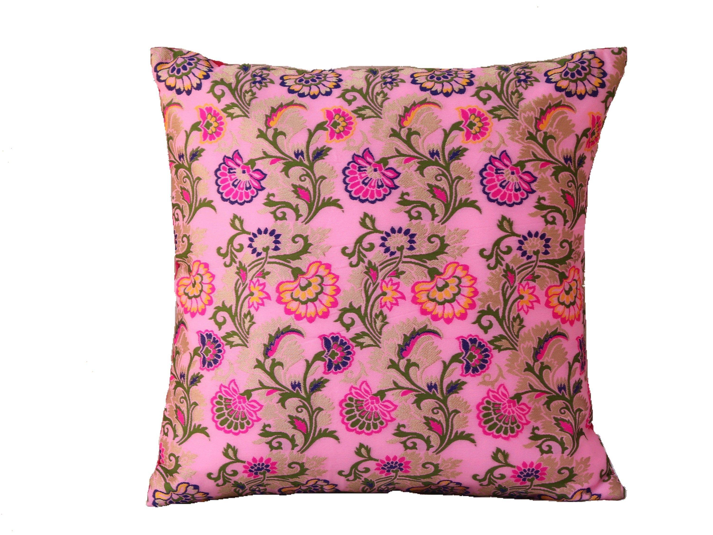Peacock Brocade Bohemien 16x16 Floral Throw Pillow Cover Indian Boho Pillowcase
