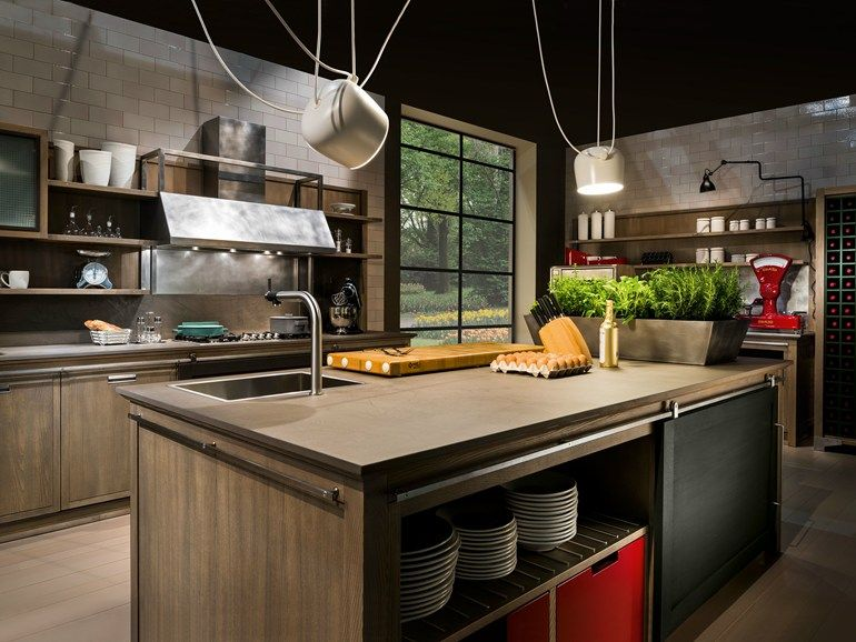 INDUSTRIAL CHIC Cucina con isola by L\'Ottocento   Rumah modern ...