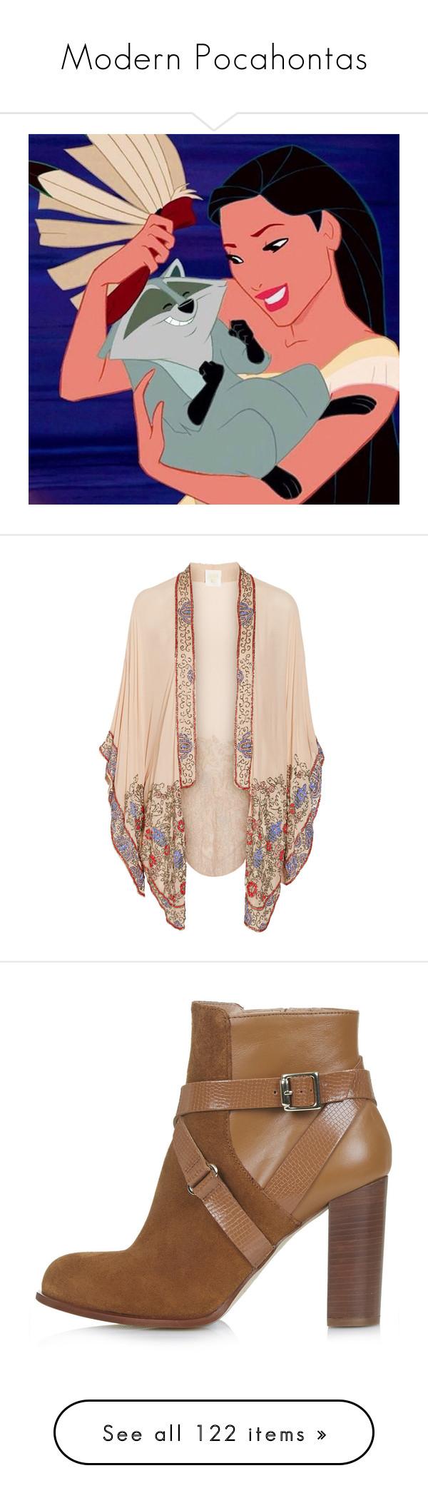 """Modern Pocahontas"" by happy-fashionx ❤ liked on Polyvore featuring disney, pocahontas, icons, disney icons, outerwear, jackets, cardigans, kimono, tops and kimono jacket"
