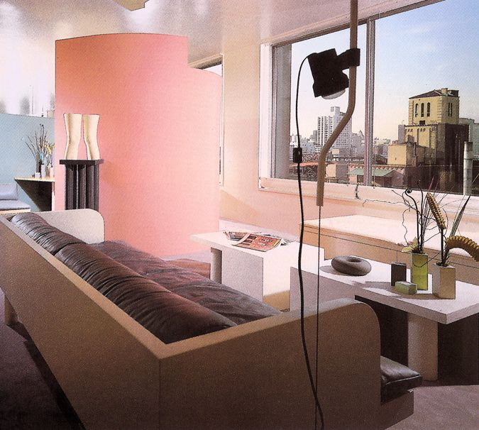 Apartment with pink and purple seating | 1980s Interior Design ...
