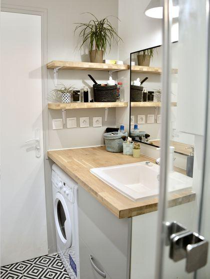 Salle de bain bois et blanc Travaux Pinterest Decoration