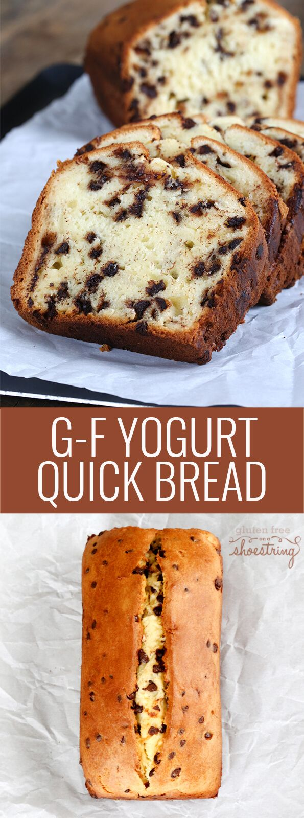 This tested recipe for gluten free quick bread is made with yogurt and chocolate chips. Super simple recipe, moist and tender results! http://glutenfreeonashoestring.com/gluten-free-quick-bread-chocolate-chip-yogurt/