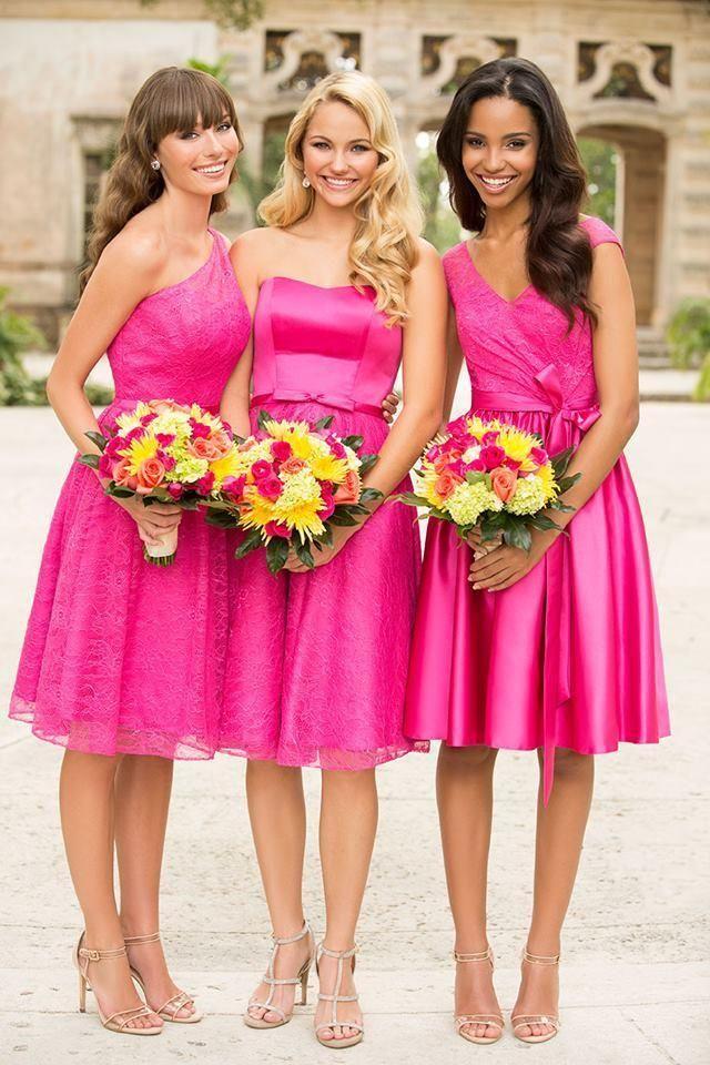 Princess 2015 Cheap Plus Size Short Bridesmaid Dresses Lace Fuschia ...