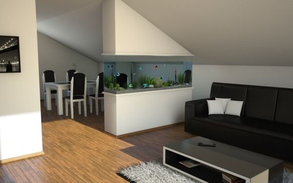 Integrate a small aquarium as a soothing element in the ...