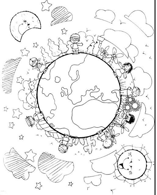 children of earth | Coloring pages | Pinterest | Earth, Child and ...