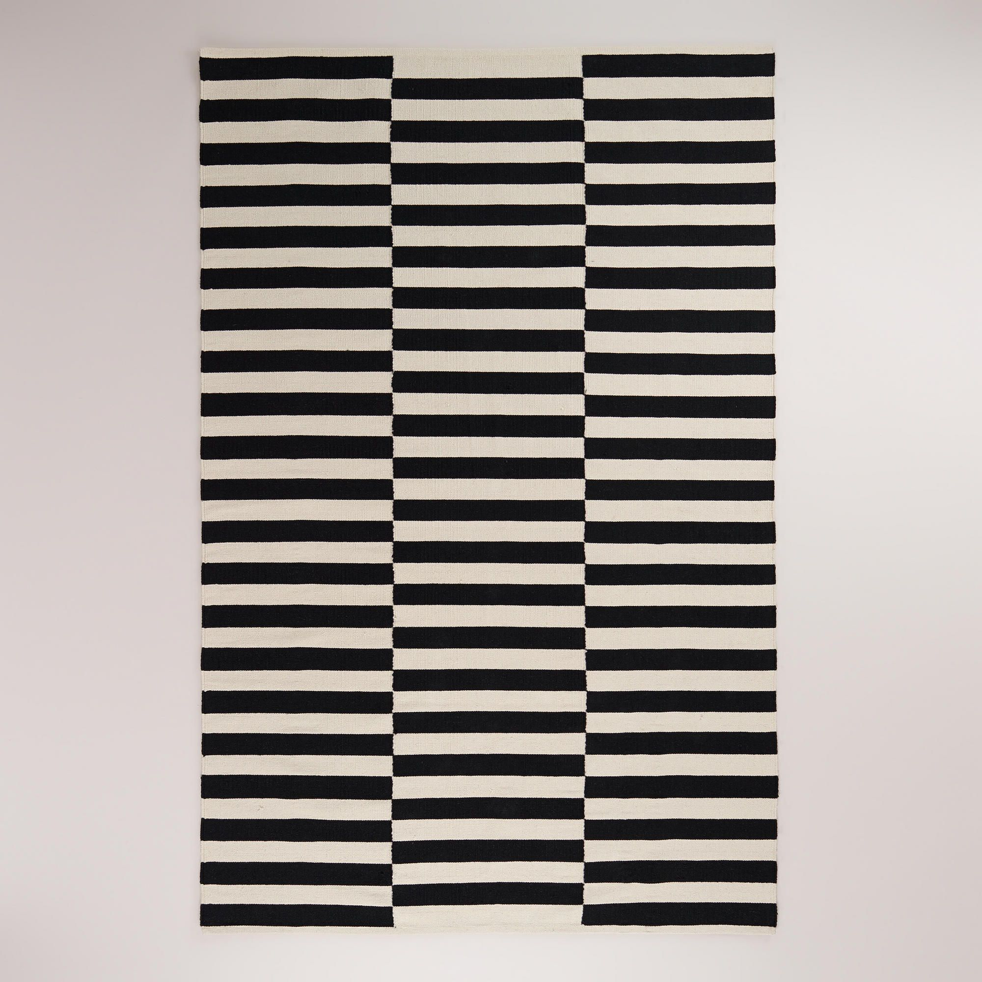 Just Like Ikea Stockholm But Cheaper! Black And White Striped Dhurrie Rug |  World Market