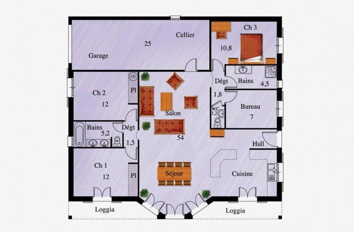 Plan du modèle MC19, maison de Plain pied - La Maison des Compagnons - plan maison france confort