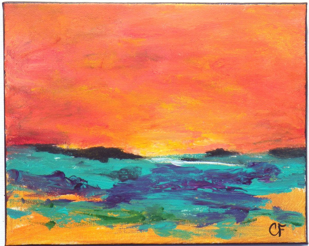 Colorful Abstract Landscape Painting In Aqua Orange 8x10 Landscape In Acrylic Abstract Landscape Painting Painting Landscape Paintings