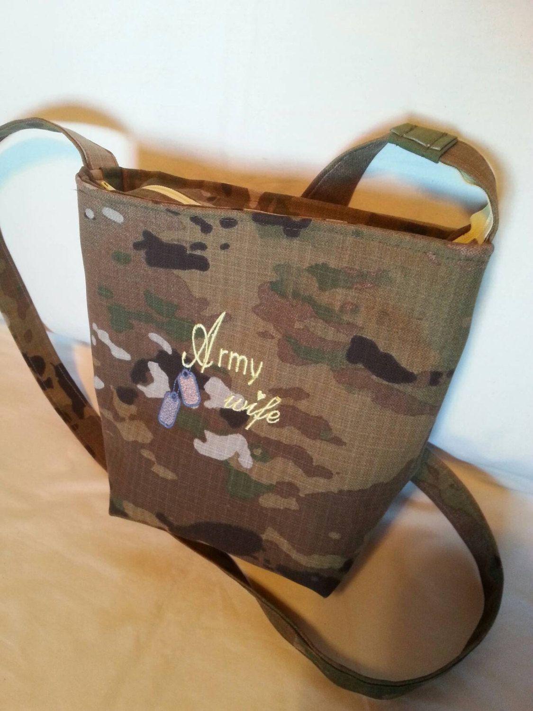 Handmade Army Wife Mom custom handbag personalized embroidery your