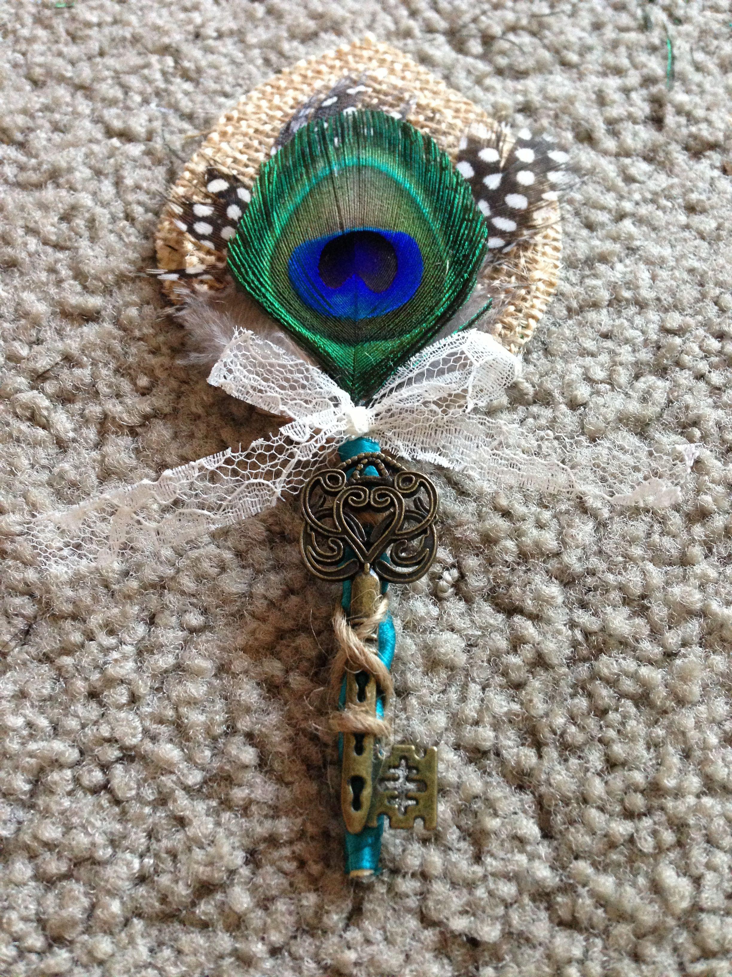DIY Burlap u0026 Lace Peacock Feather Boutonnire