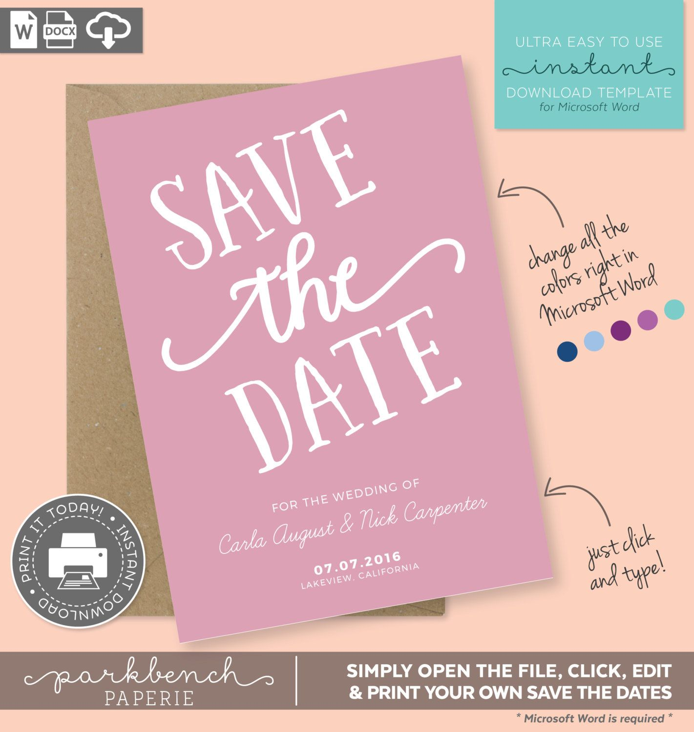 items similar to save the date printable template for microsoft word carla style rose diy editable text and colors on etsy
