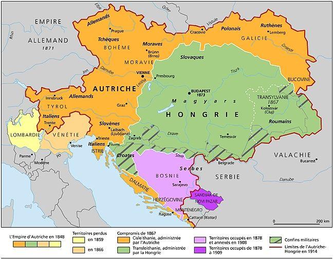 La Monarchie Austro Hongroise Autriche Hongrie Carte Geographique Carte Italie