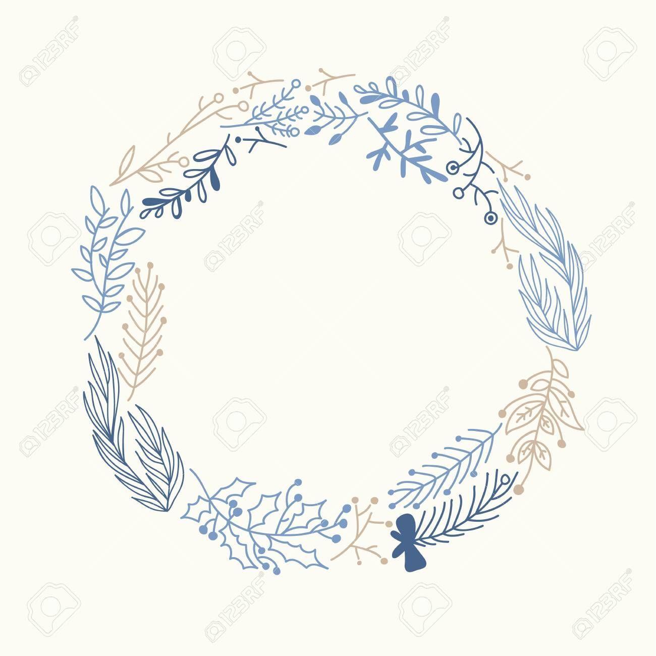 Photo of Blue And Beige Foliate Wreath Doodle Illustration , #Affiliate, #Foliate, #Beige…