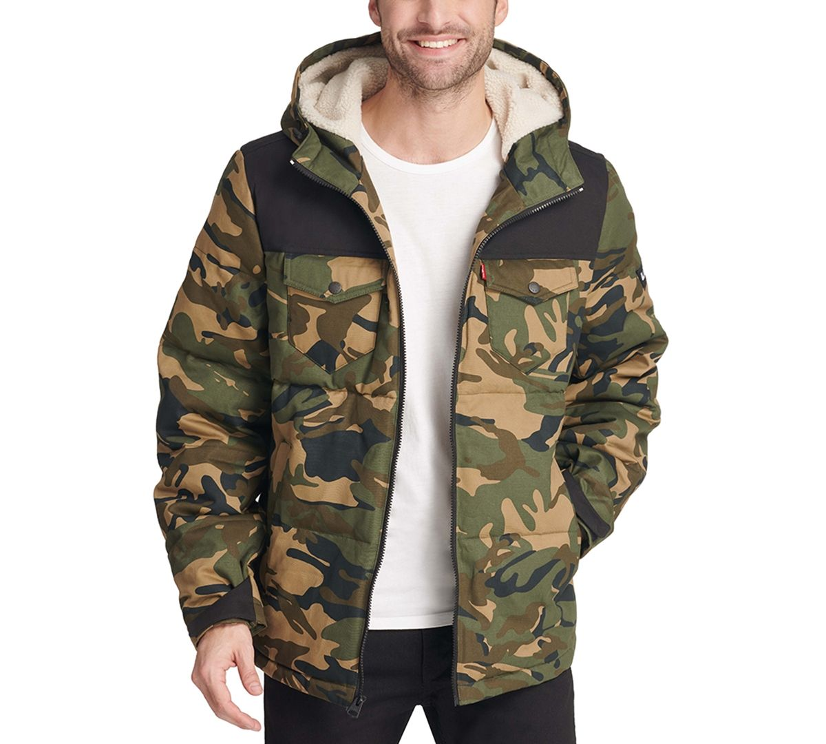 Levi S Men S Quilted Mix Media Puffer Jacket With Fleece Lined Hood Reviews Coats Jackets Men Macy S Big Clothes Man Quilt Clearance Clothes [ 1080 x 1200 Pixel ]