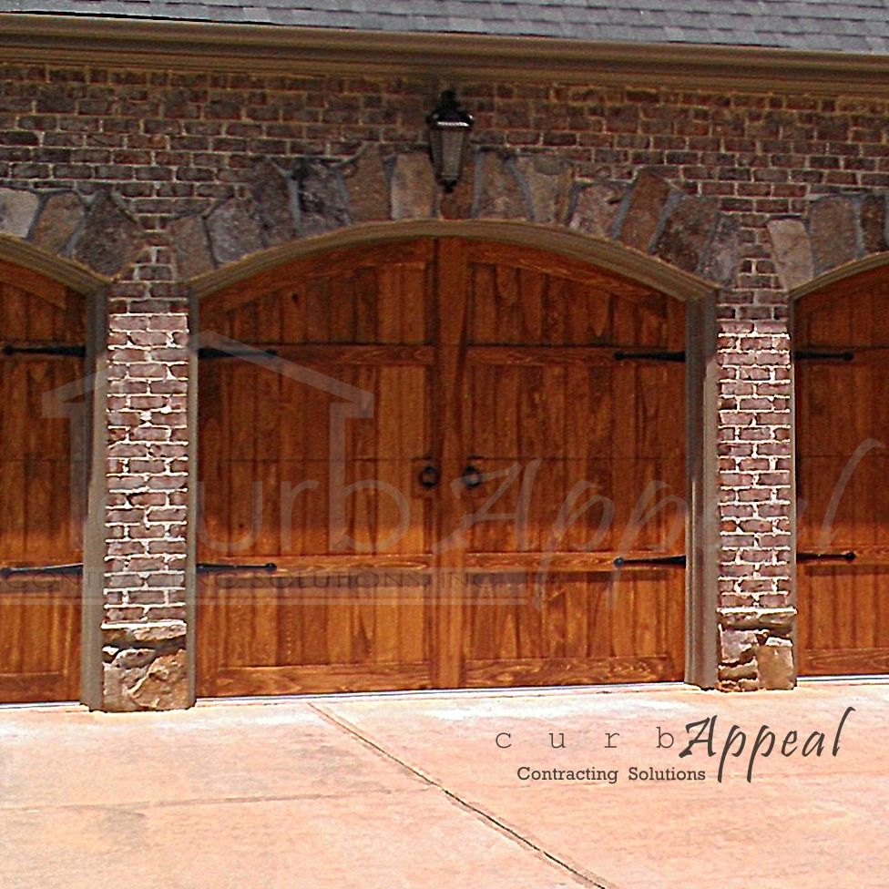 Refaced Carriage Style Garage Door With Decorative Strap Hinges And