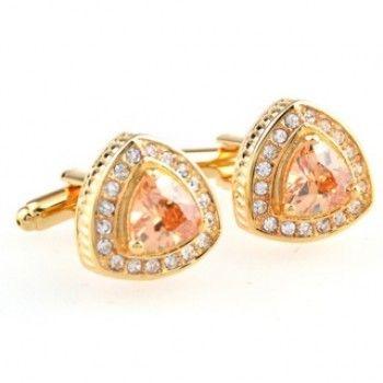 Gold Crystal Triangle Cufflinks
