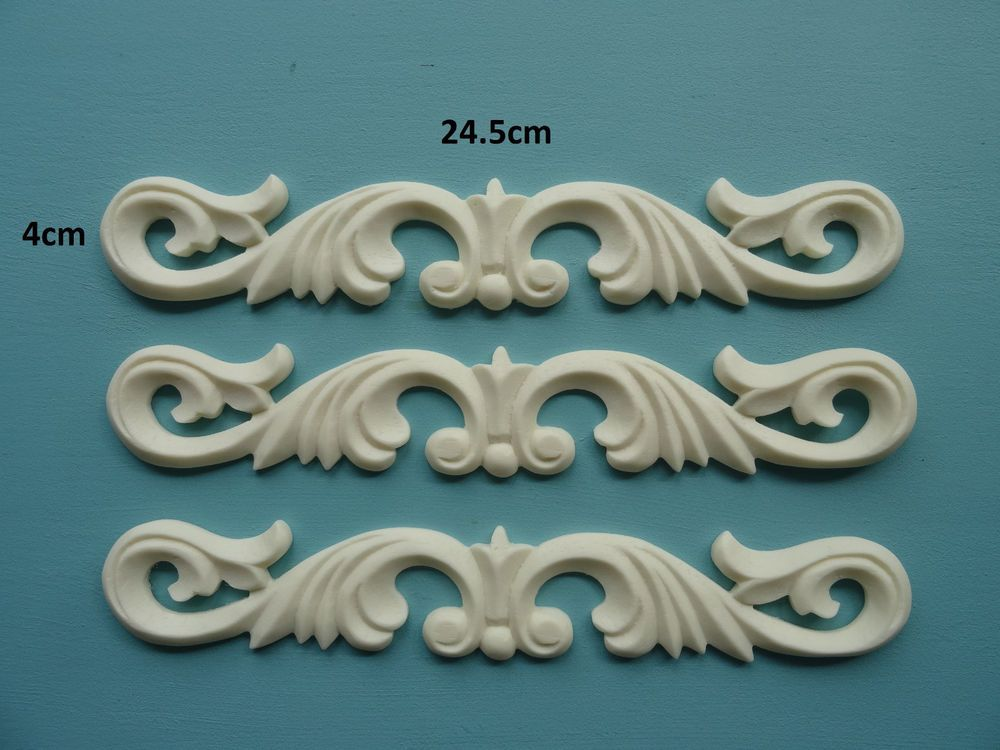 Pair of Chic Furniture Rose Scroll Resin Applique Moulding Carving