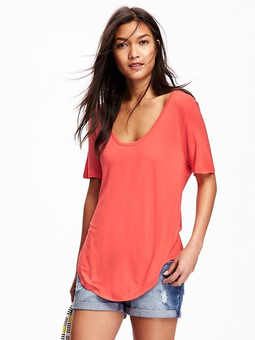Relaxed Curve Hem Tee for Women
