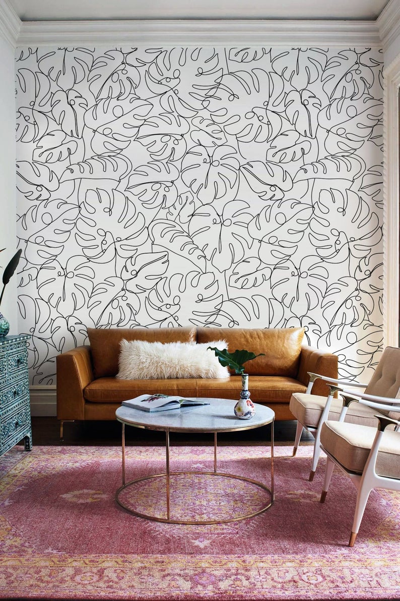 Abstract Leaf Peel And Stick Wallpaper Monstera Wallpaper Etsy Monochrome Wall Wall Murals Diy Wallpaper