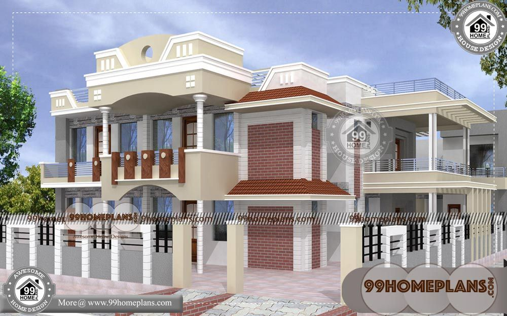 House Design With Floor Plan With Front Design Of Double Story House Having 2 Floor 5 Total Bedroom 5 To House Balcony Design House Design Small House Design