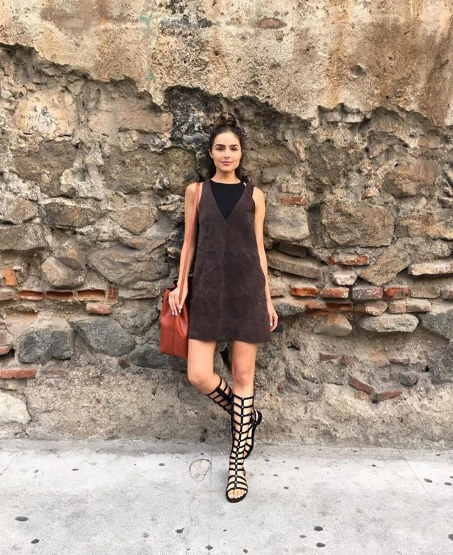 Look for Less: Olivia Culpo's Instagram Free People Chocolate Retro Love Suede Dress, Stuart Weitzman Gladiator Sandals, and Mansur Gavriel Cammello Large Bucket Bag