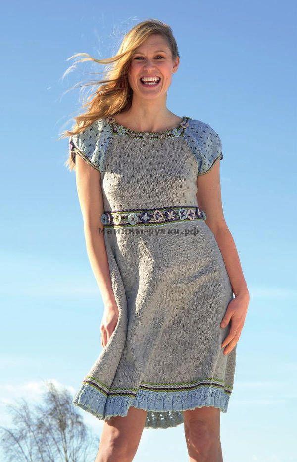 Летнее вязанное платье модель