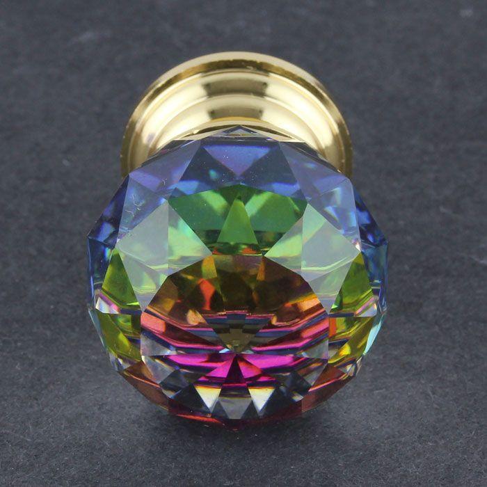 Pair of Door Handles Cabinet Puller Blue Crystal Cut Glass Brass End Decor