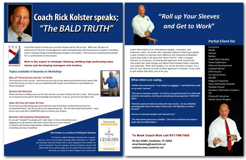 Professional Speaker one sheet samples and graphic design services - sample sell sheet