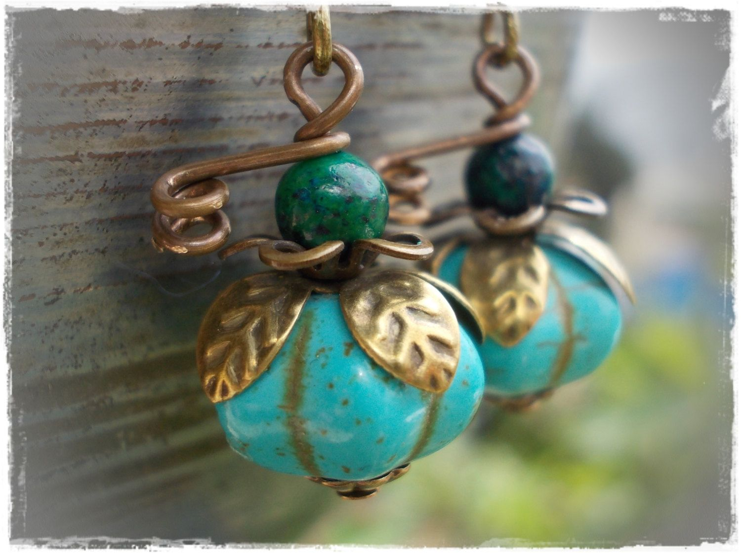 Pumpkin earrings Organic dangle drop earrings magnesite turquoise and chrysocolla on bronze brass berry fruit melon rustic persimmon howlite by karmelidesigns on Etsy https://www.etsy.com/listing/183071560/pumpkin-earrings-organic-dangle-drop