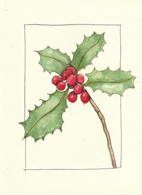 holly by MagaMerlina, via Flickr acuarela Pinterest Card ideas