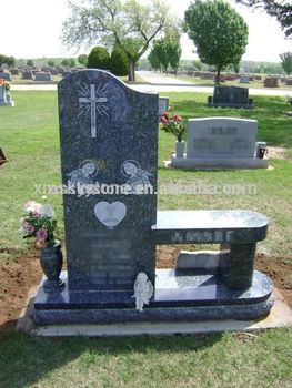 Factory Direct Sell Single Side Vase Blue Pearl Granite Bench Headstone Buy Bench Headstone Granite Bench Hea Headstones Blue Pearl Granite Granite Monuments