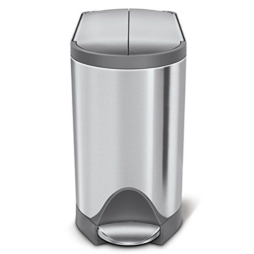 Simplehuman Butterfly Step Trash Can 10 L 2 6 Gallon Brushed Stainless Steel With Grey Trim Simplehuman Trash Can Brushed Stainless Steel