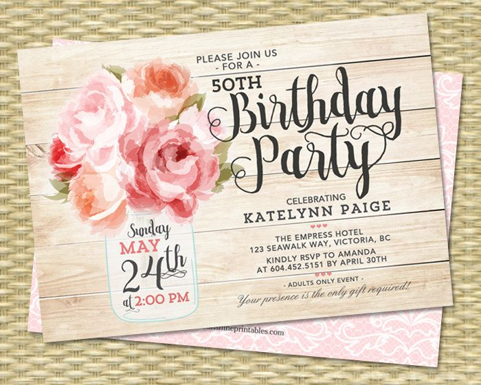 60th Birthday Invitation Mason Jar Floral Pink Peonies Shabby Chic