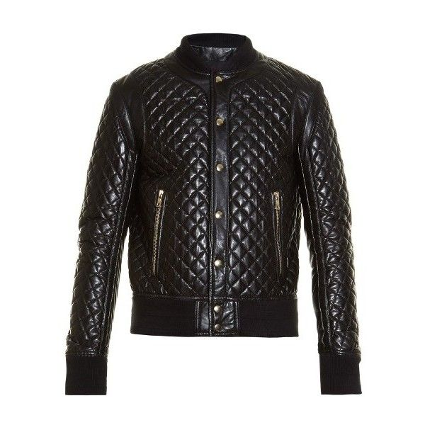 Balmain Diamond-quilted leather bomber jacket ($3,815) ❤ liked on ...