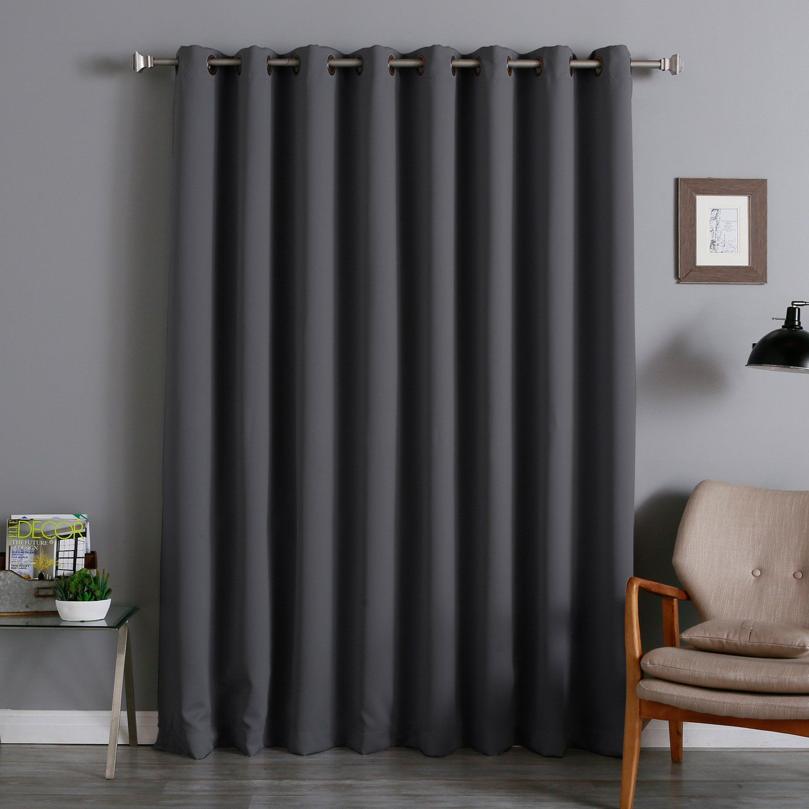 Best Home Fashion Wide Thermal Grommet Blackout Curtain Dark Gray