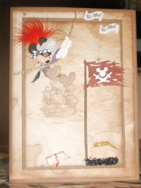 Mickey Mouse Pirate card I made....Custom Crafter's Creations >^._.^< By Jenny