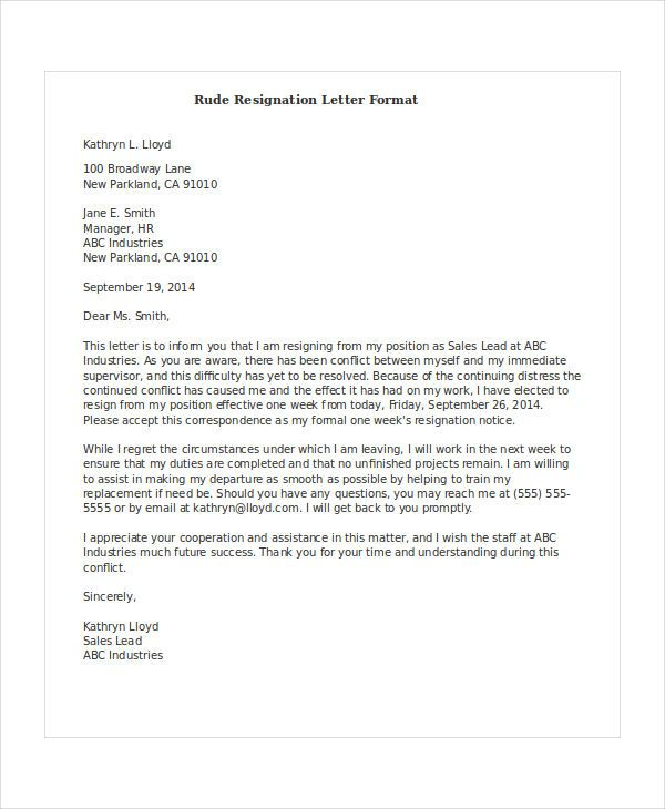 Resignation Letter Format Resignation Letter Format With Notice