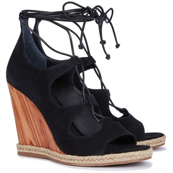 04494c37ee7e Tory Burch Raya Lace-Up Wedges ( 179) ❤ liked on Polyvore featuring shoes