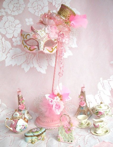 Marie Antoinette Mask WITH STAND Pink Shabby or by LaDeeDah2,