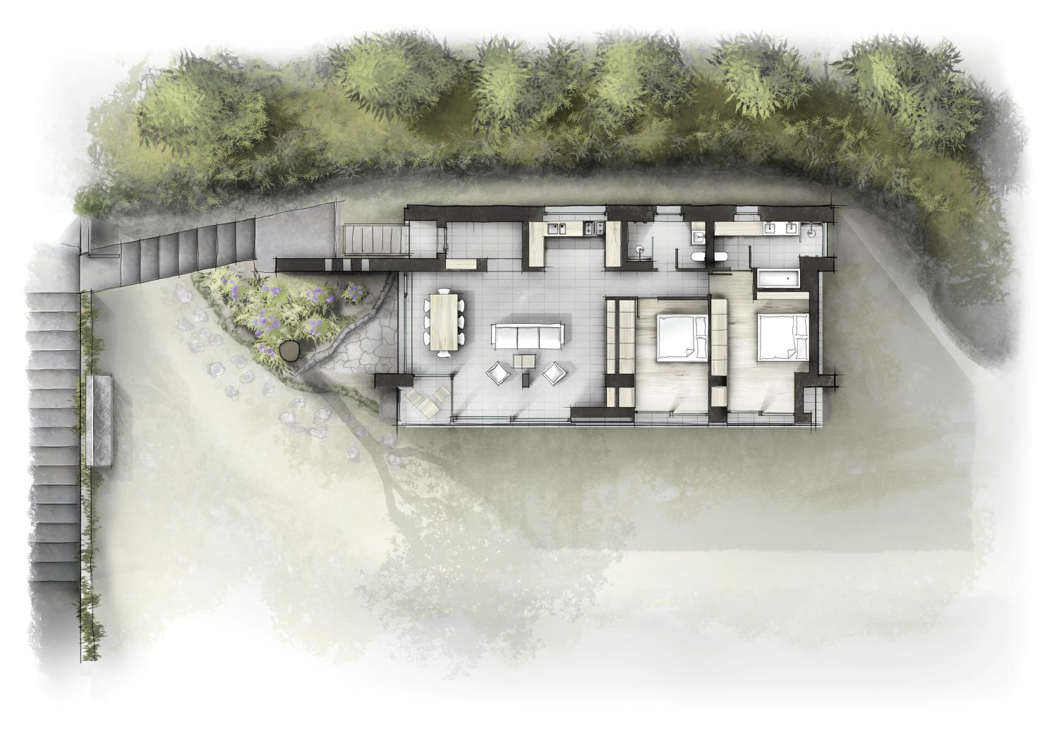 villa gardasee grundriss og | innenarchitektur zeichnungen skizzen, Innenarchitektur ideen