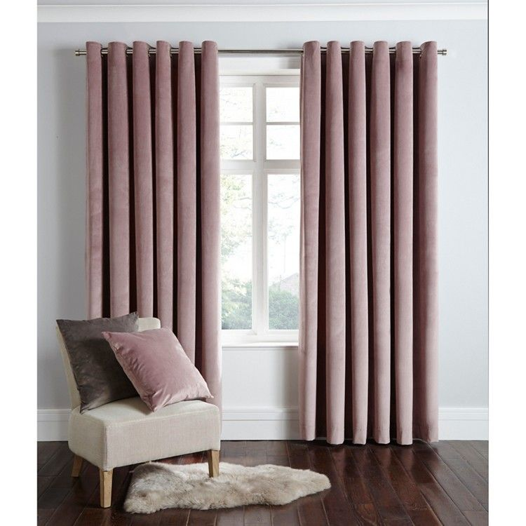 Powder Pink Velvet Eyelet Curtains